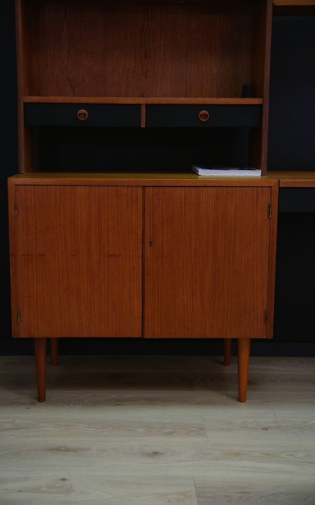 d nisches mid century teak regal mit schreibtisch bei pamono kaufen. Black Bedroom Furniture Sets. Home Design Ideas