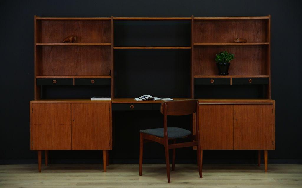 d nisches mid century teak regal mit schreibtisch bei. Black Bedroom Furniture Sets. Home Design Ideas