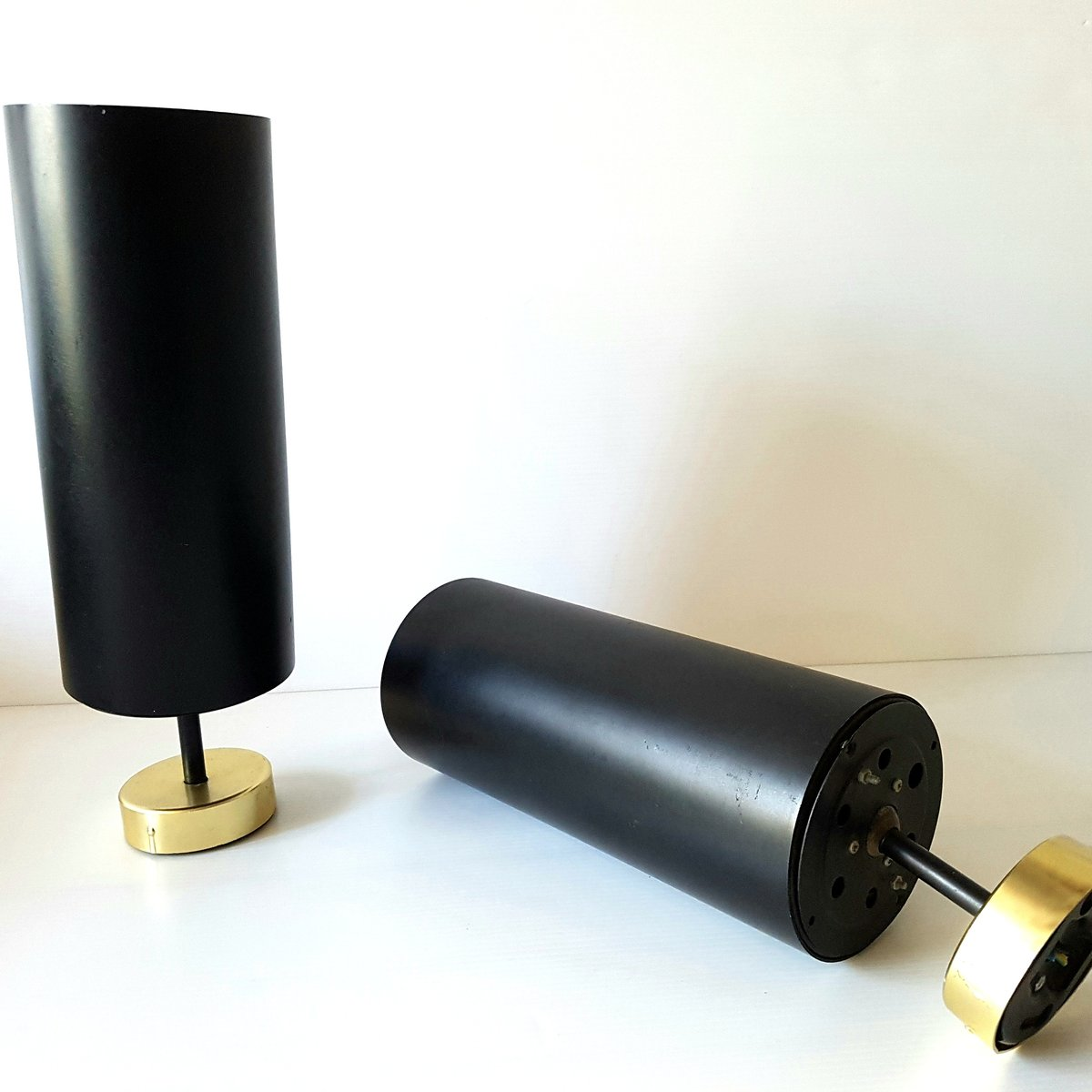 Brass & Black Metal Tube Wall Lamps, 1950s, Set of 2 for sale at Pamono