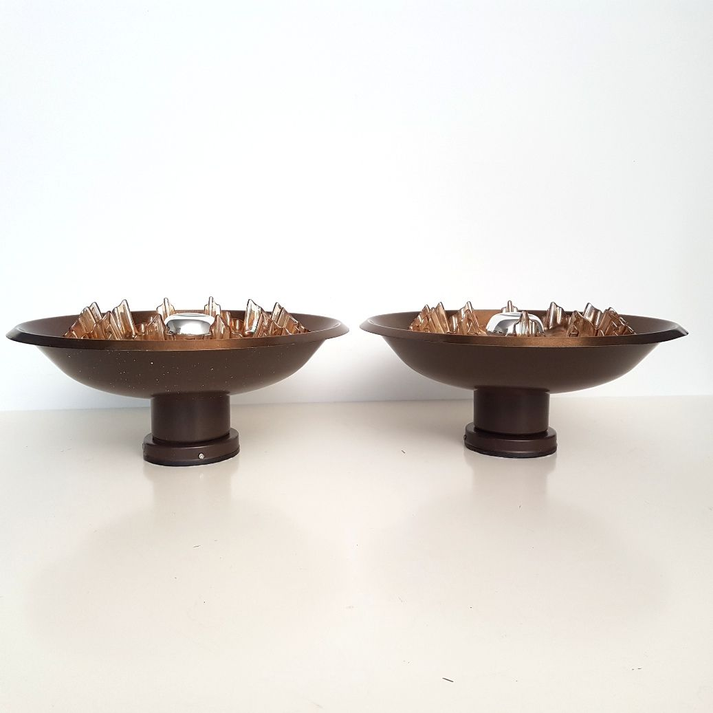 Wall Lamps Bronze : Bronze-Plated Wall Lamps with Glass Shades, 1970s, Set of 6 for sale at Pamono
