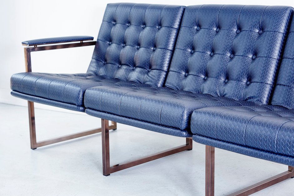 Mid Century Navy Leather Sofa From Chromcraft For Sale At