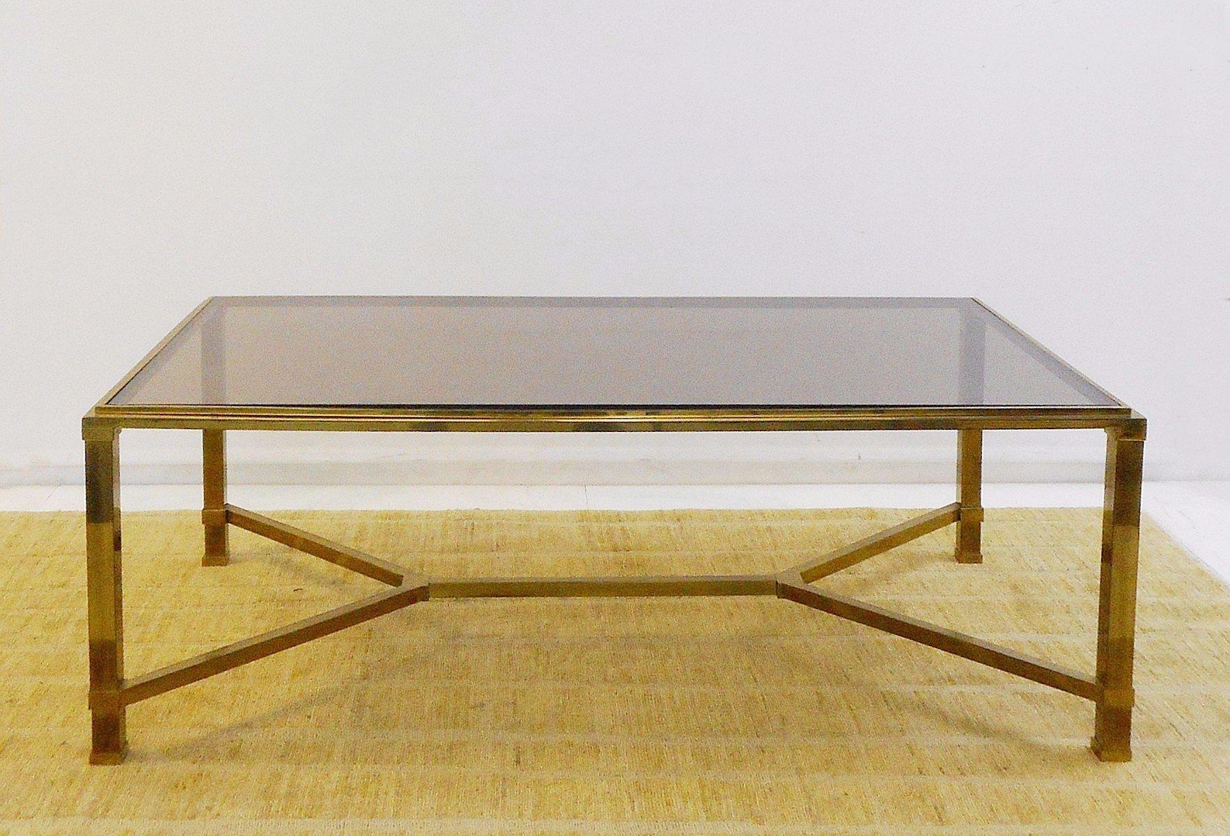 Wonderful Vintage Brass U0026 Smoked Glass Coffee Table