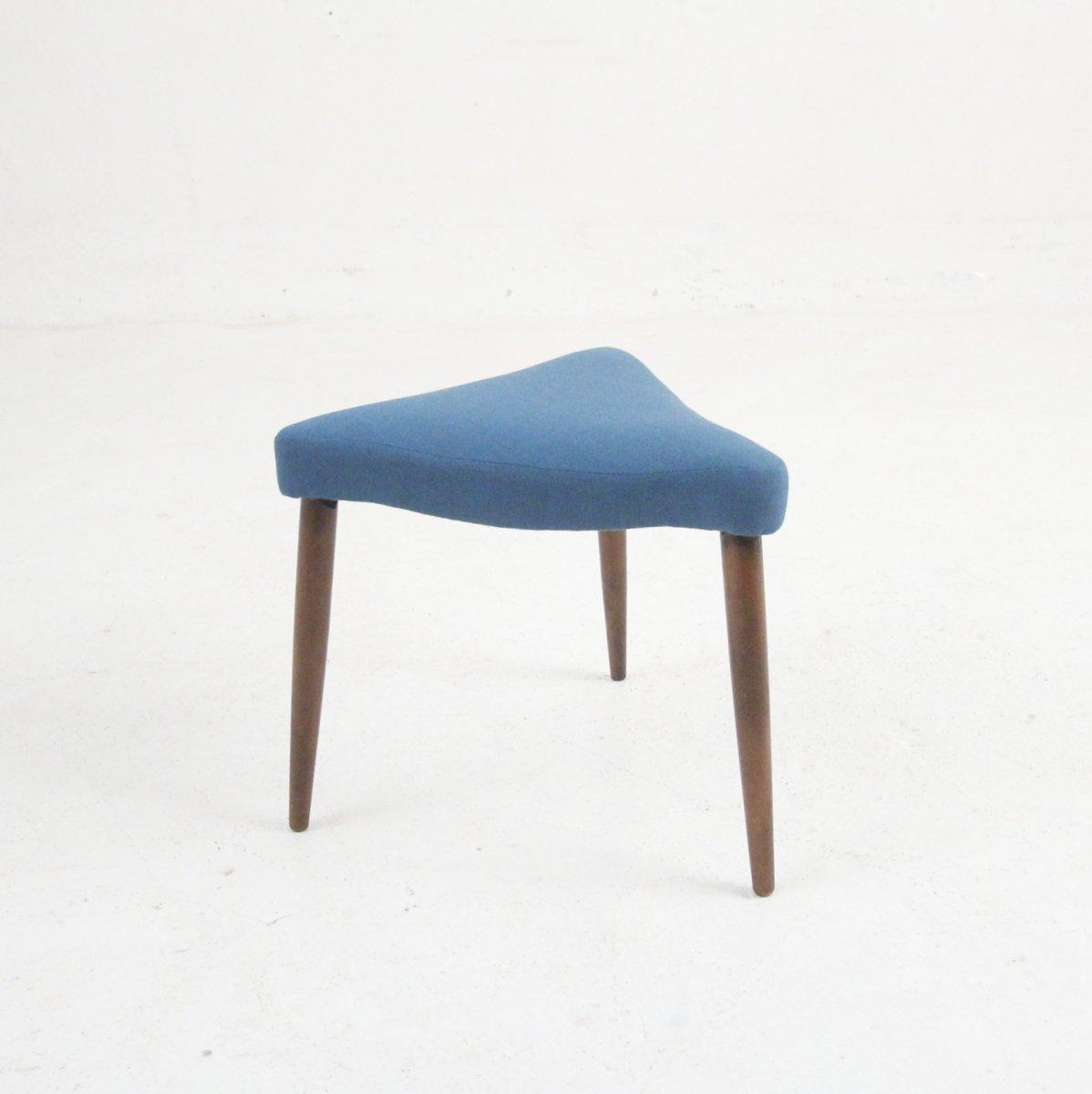 d nischer mid century hocker mit blauem bezug 1955 bei pamono kaufen. Black Bedroom Furniture Sets. Home Design Ideas