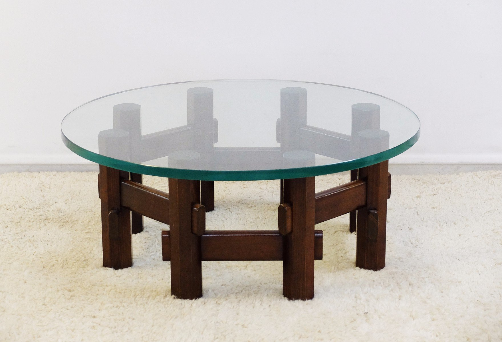 Vintage Wood Glass Coffee Table For Sale At Pamono