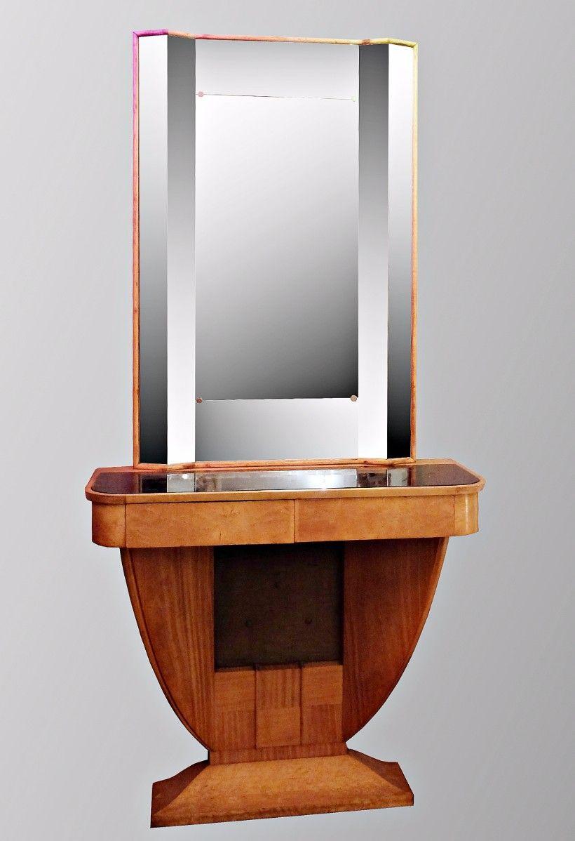 italienischer vintage walnuss konsolentisch mit spiegel. Black Bedroom Furniture Sets. Home Design Ideas
