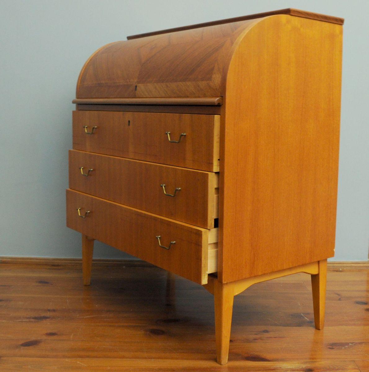 schwedischer mid century teak sekret r mit rollt r bei pamono kaufen. Black Bedroom Furniture Sets. Home Design Ideas