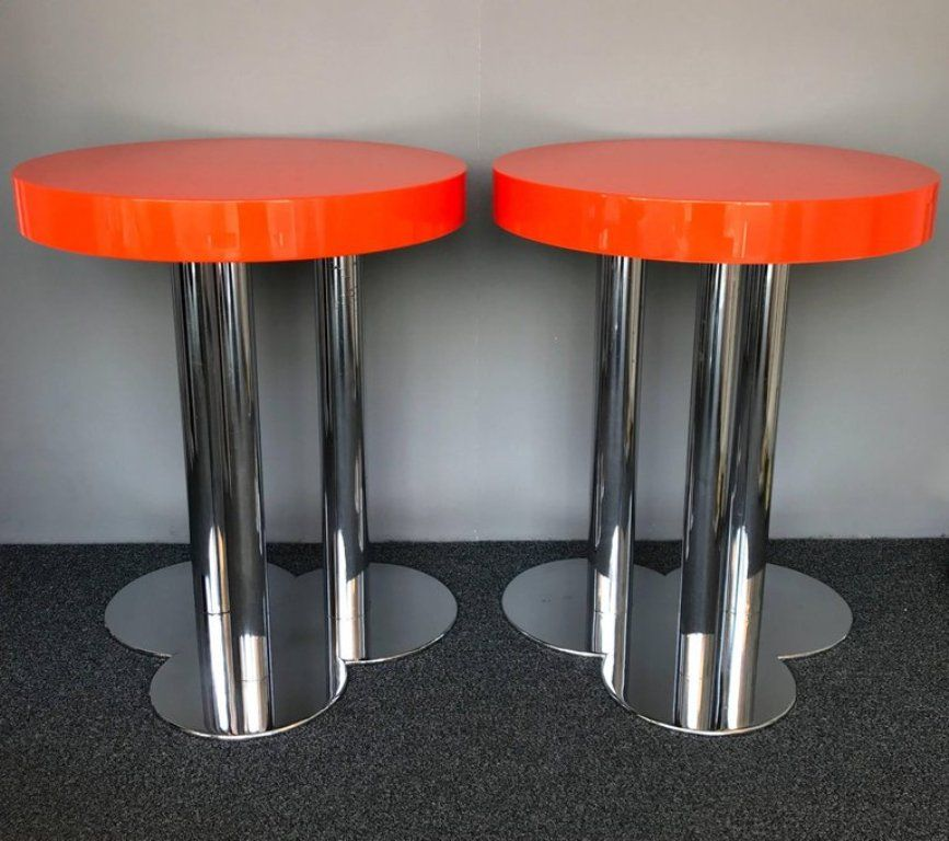 Italian Orange Side Tables, 1970s, Set Of 2