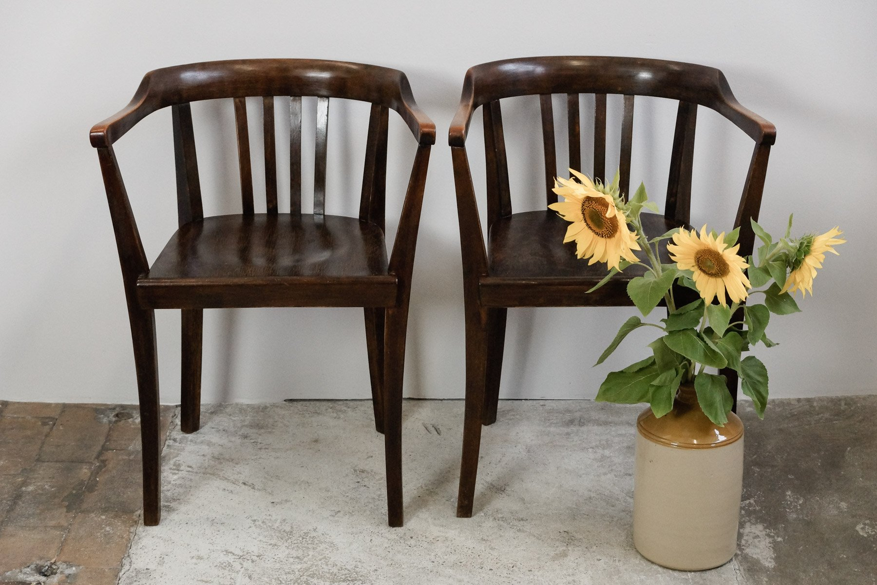 Vintage Bauhaus Desk Chairs in Bentwood Set of 2 for sale at Pamono