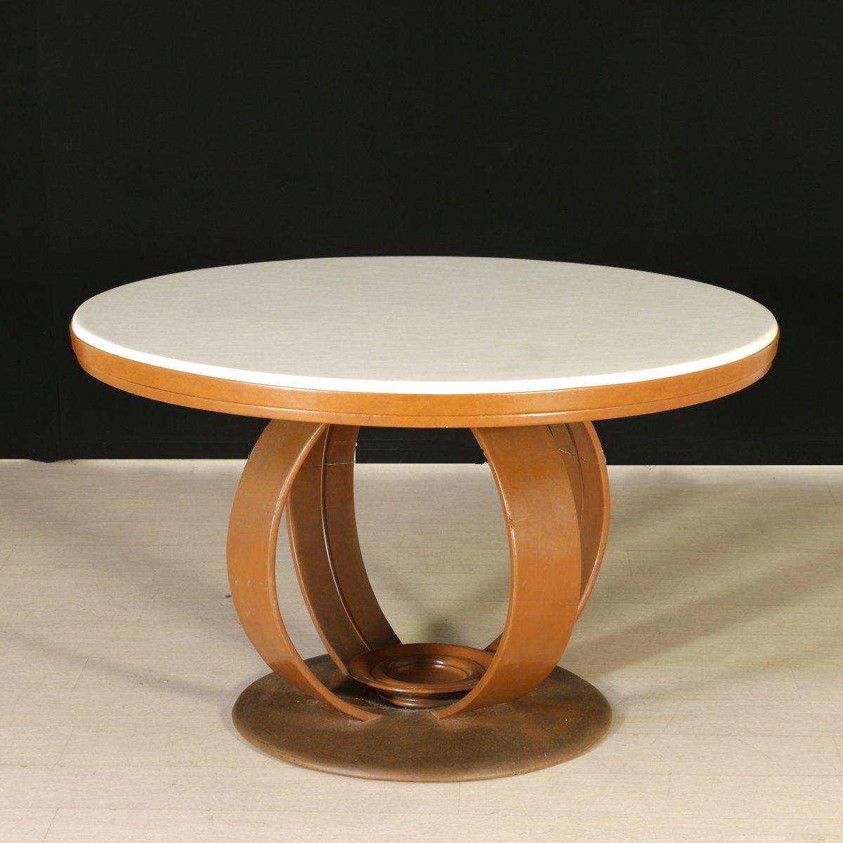 italienischer esstisch aus kunstleder 1960er bei pamono. Black Bedroom Furniture Sets. Home Design Ideas