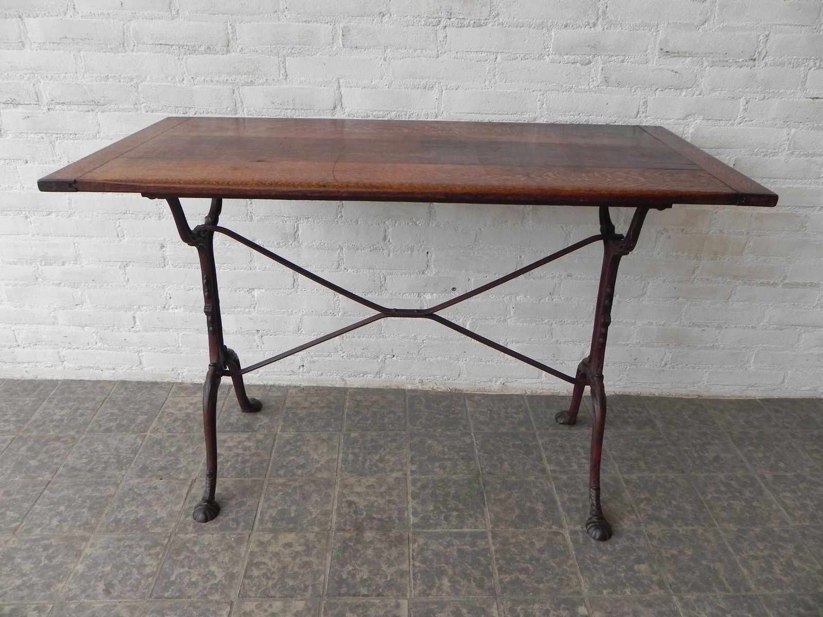 Charming Vintage French Bistro Table With Cast Iron Base, 1930s