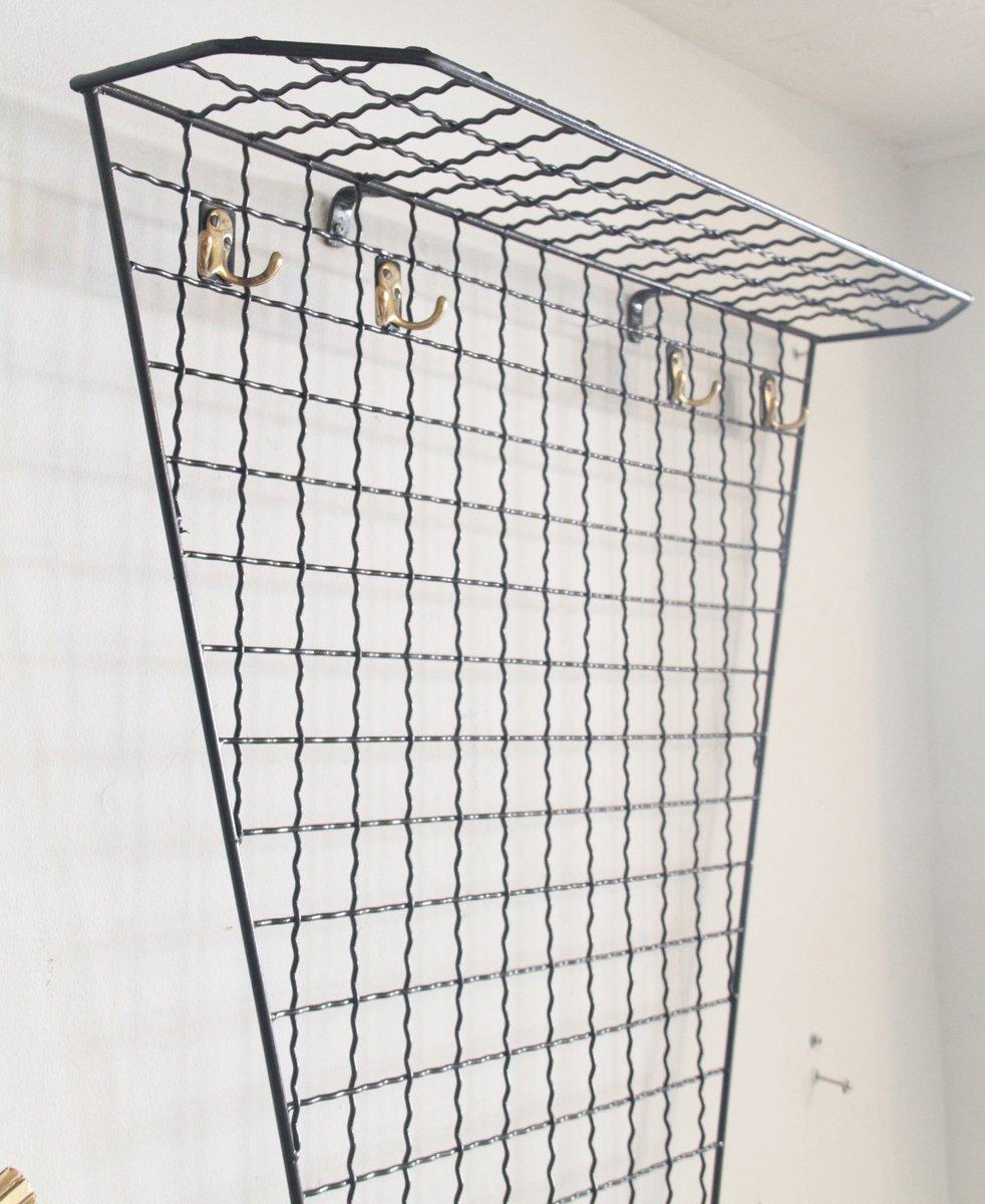 wandmontierte franz sische garderobe aus schwarzem metall. Black Bedroom Furniture Sets. Home Design Ideas