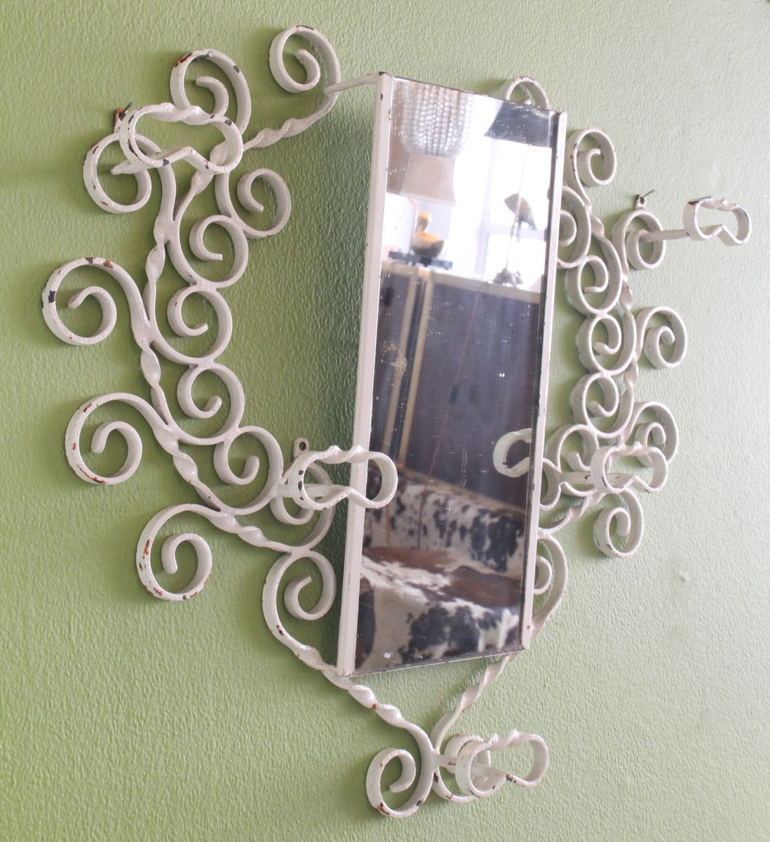 Large Wrought Iron Wall Mounted Coat Rack With Mirror
