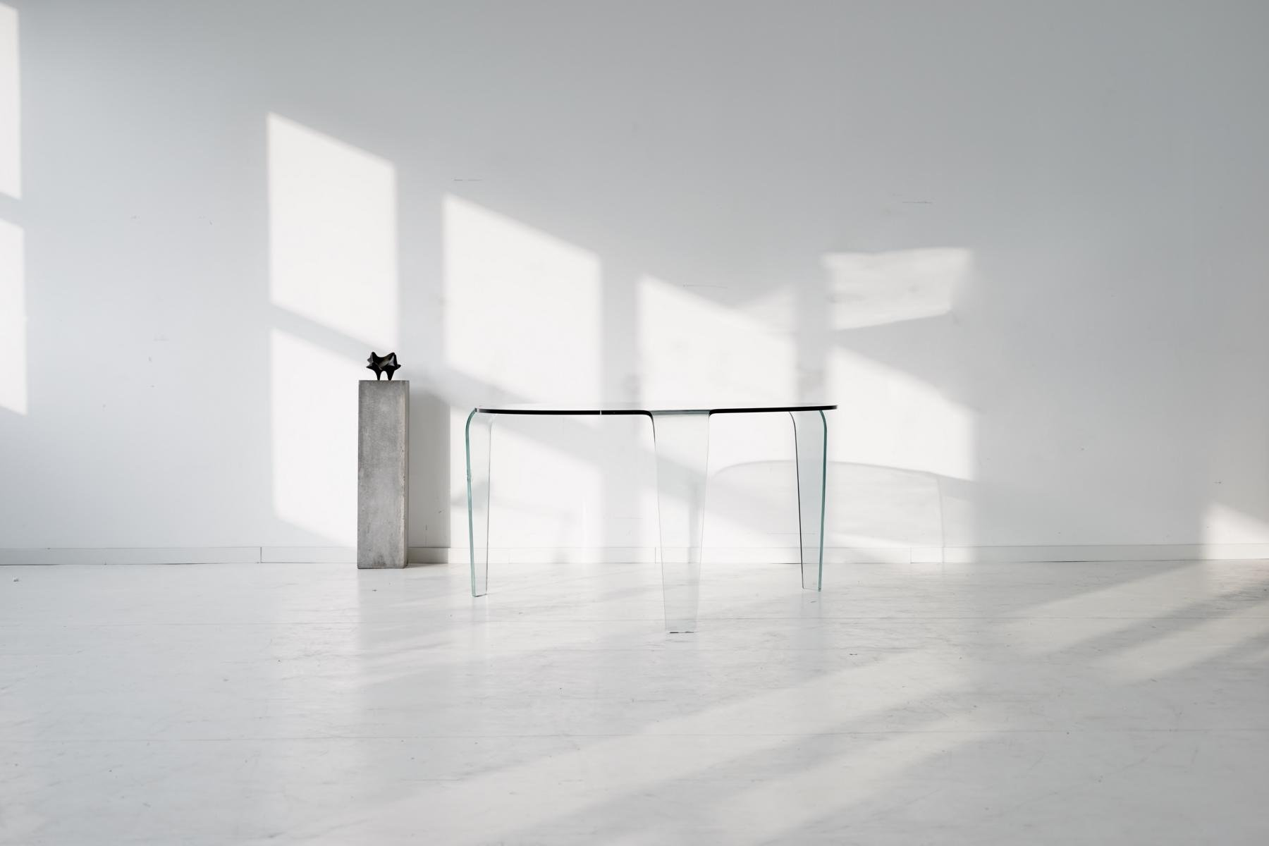 Vintage glass table from roche bobois for sale at pamono - Table ovale marbre roche bobois ...