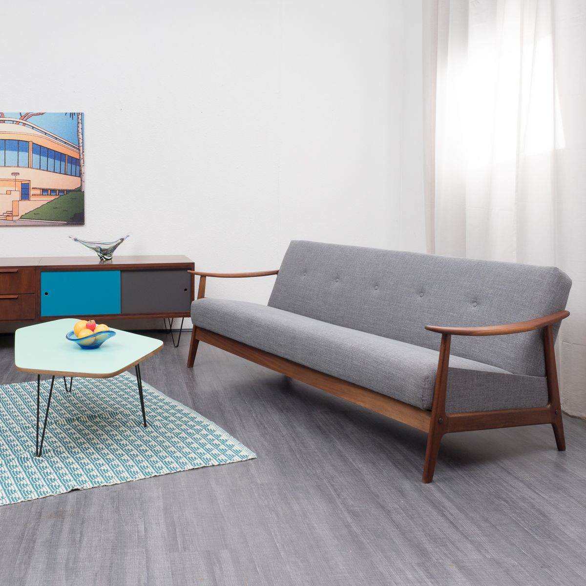 Folding sofa bed with teak frame 1960s for sale at pamono - Folding bed with sofa ...