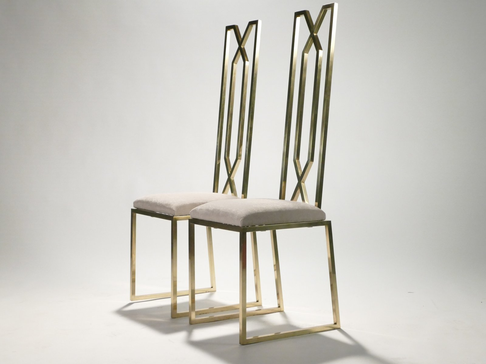 Brass Chairs by Willy Rizzo for Maison Jansen 1970s Set of 2 for