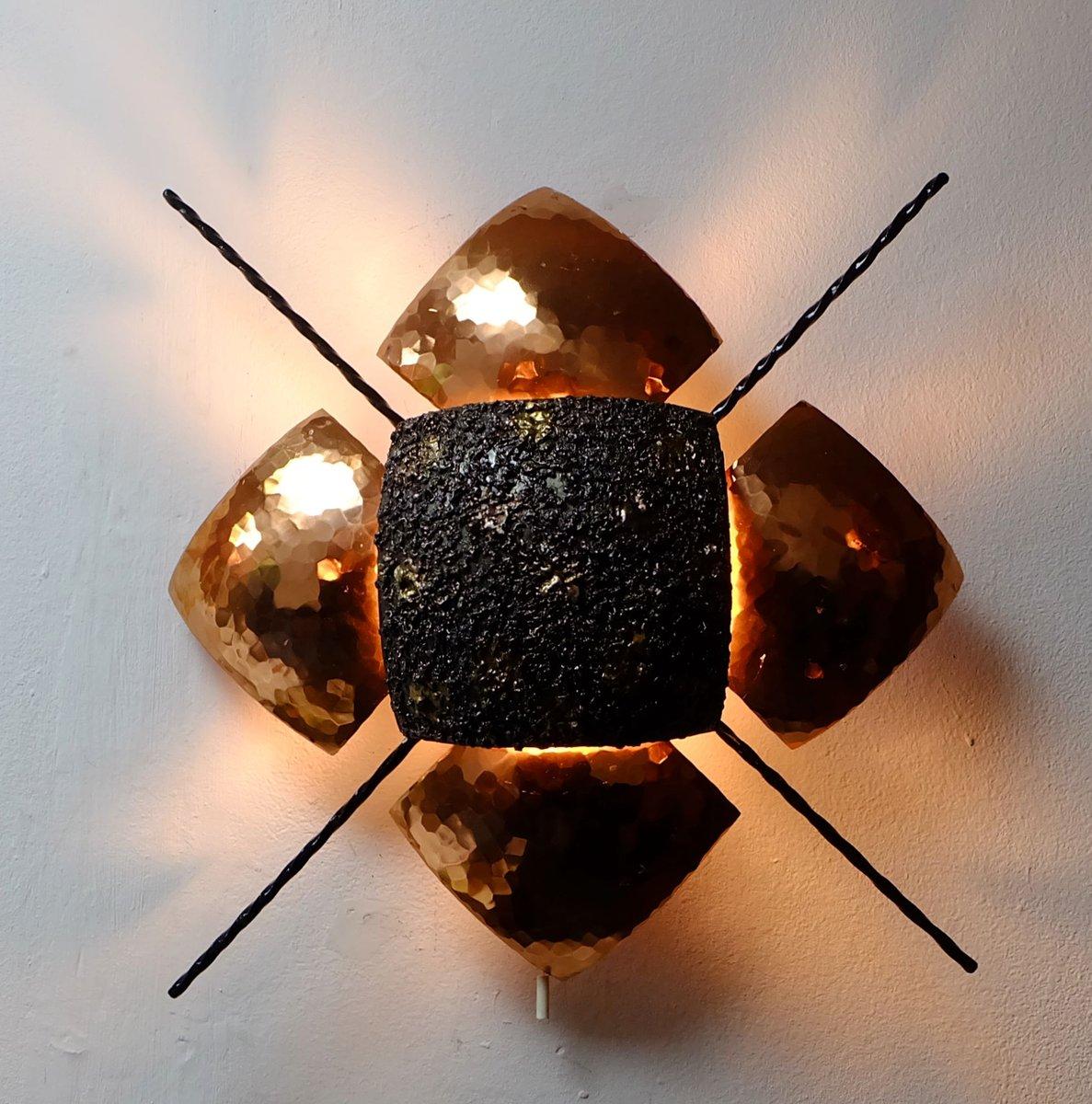 brutalistische deutsche kupfer wandlampe 1960er bei pamono kaufen. Black Bedroom Furniture Sets. Home Design Ideas