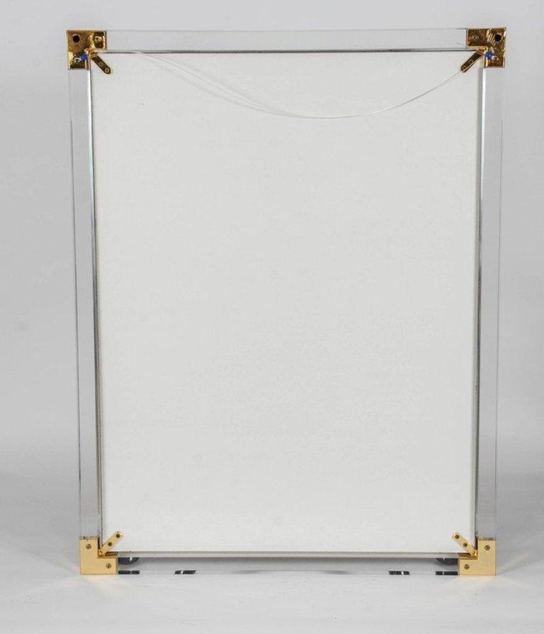 vintage spiegel mit rahmen aus plexiglas und messing bei. Black Bedroom Furniture Sets. Home Design Ideas