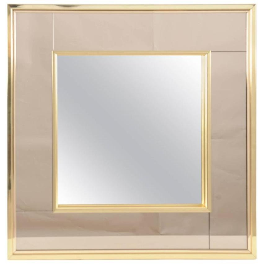 Vintage square two toned mirror in brass frame for sale at for Square mirror
