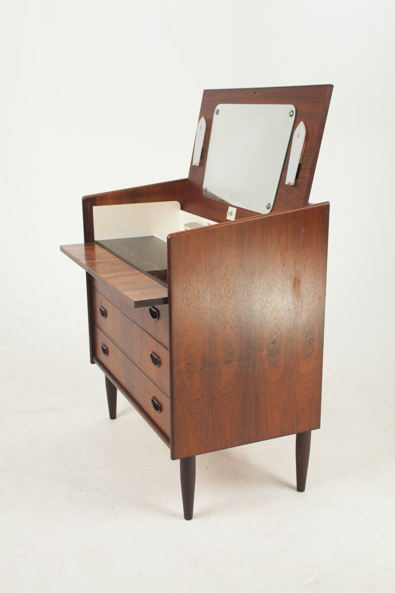 Danish rosewood dressing table with mirror lights 1960s for Dressing table with lights