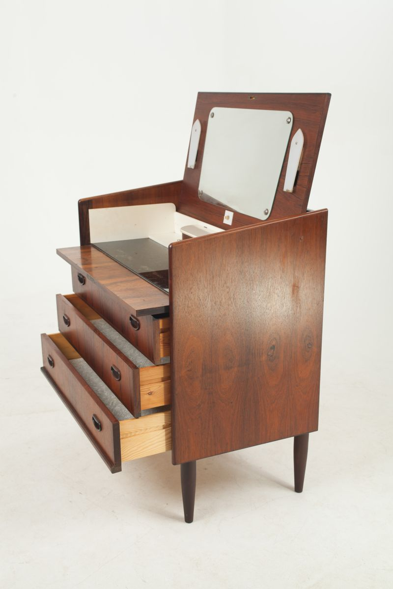 Danish rosewood dressing table with mirror lights 1960s for Vanity table with lights for sale