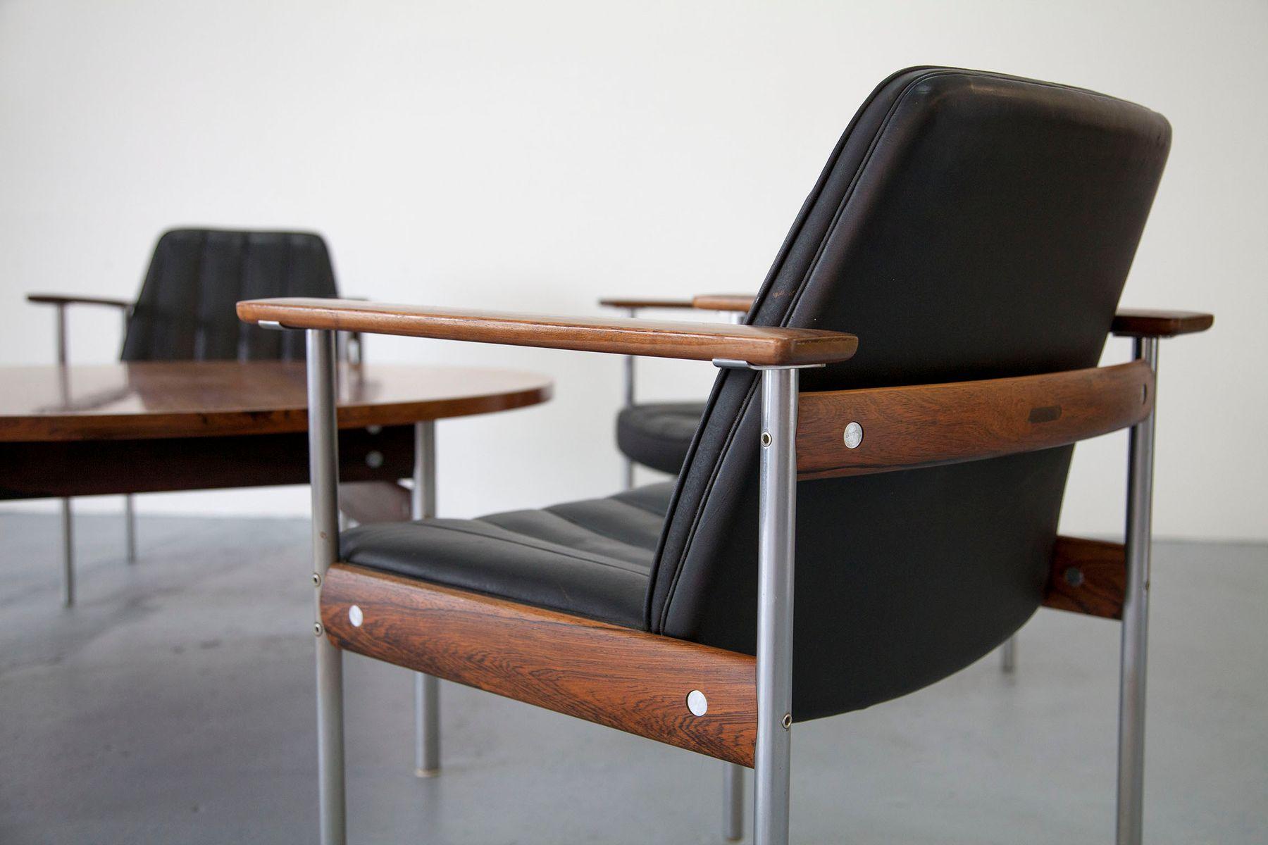 set de salon vintage avec cinq chaises et une table basse par sven ivar dysthe pour dokka en. Black Bedroom Furniture Sets. Home Design Ideas