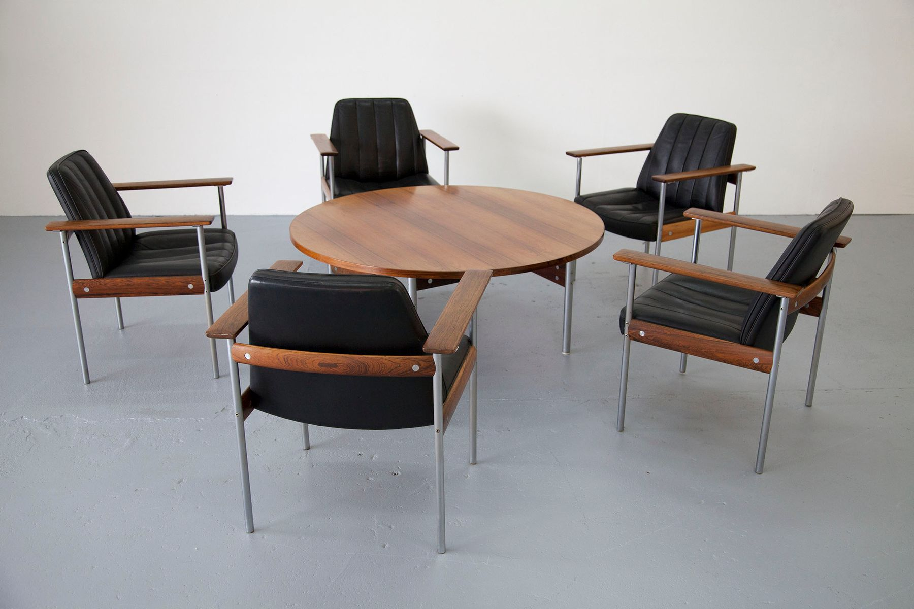 Vintage Lounge Set with Five Chairs & Coffee Table by Sven Ivar