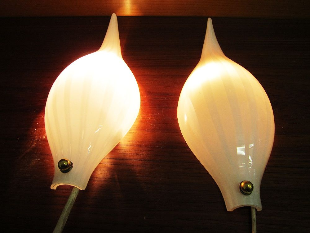 Vintage Murano Glass Wall Lamps, Set of 2 for sale at Pamono