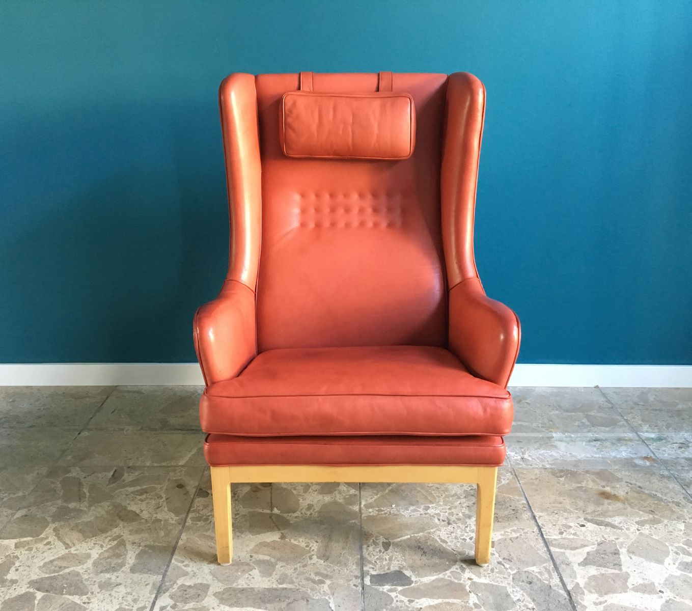 vintage ohrensessel aus leder von arne norell bei pamono kaufen. Black Bedroom Furniture Sets. Home Design Ideas