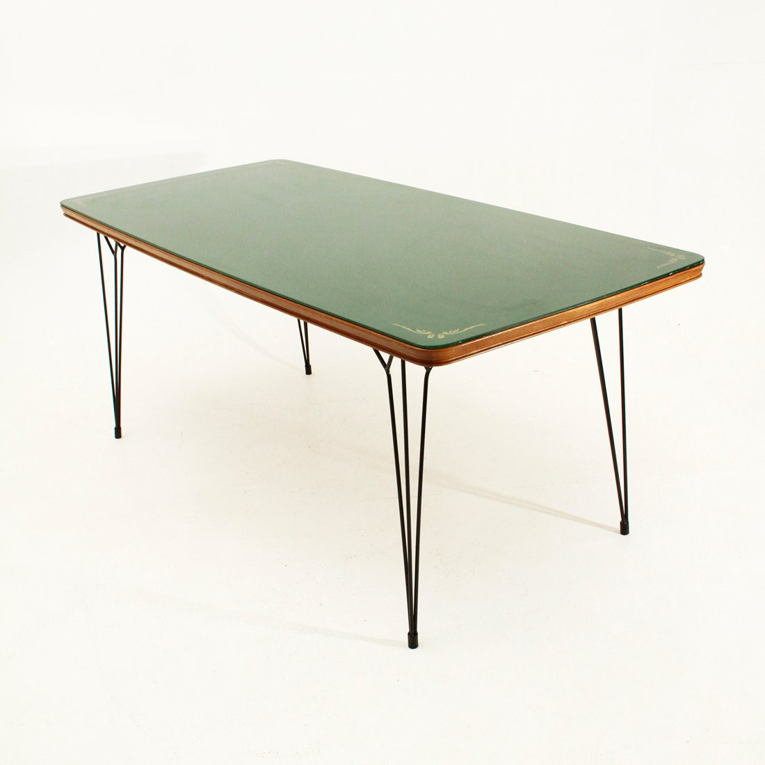 Italian dining table with glass top and metal legs 1950s for Dining table with metal legs