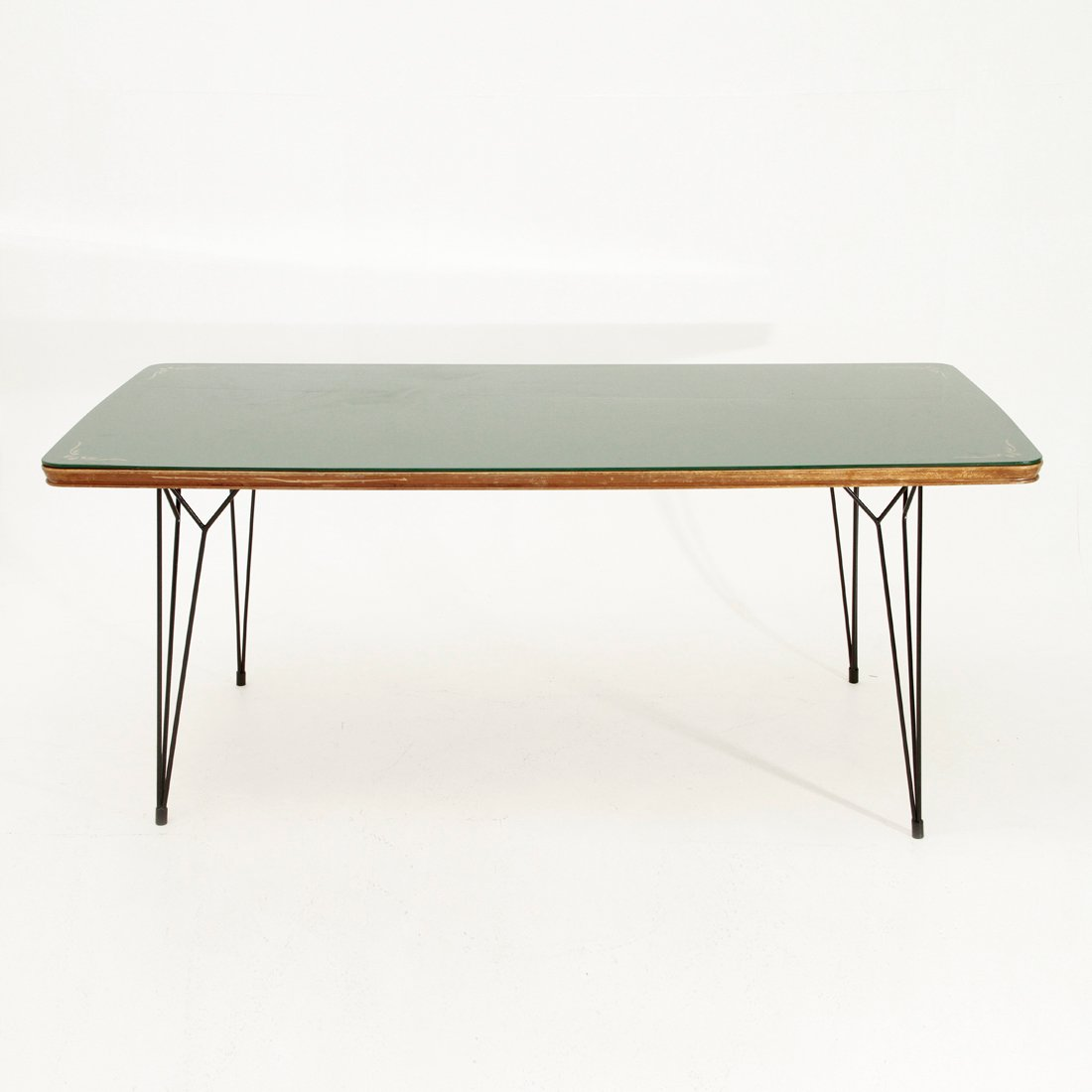 italian dining table with glass top and metal legs 1950s for sale at pamono. Black Bedroom Furniture Sets. Home Design Ideas