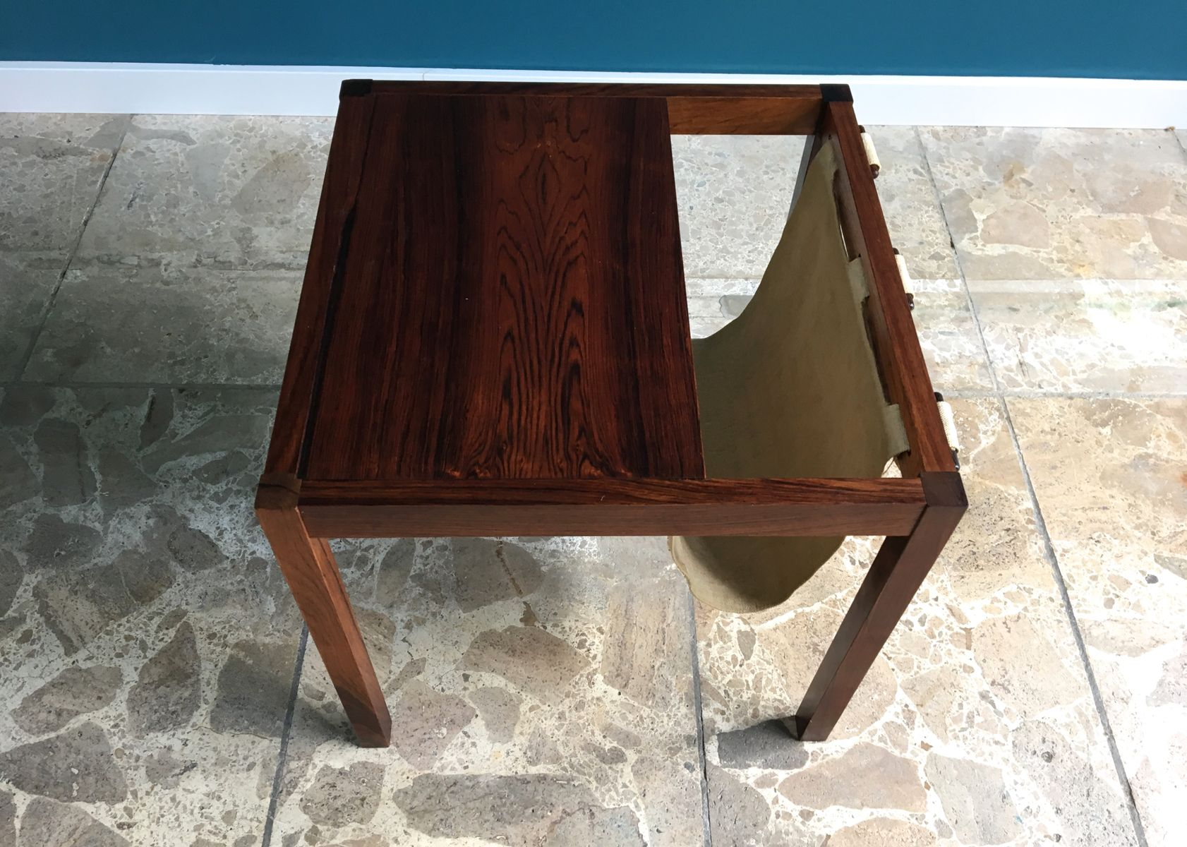 Vintage Danish Rosewood Side Table with Magazine Rack 1960s for