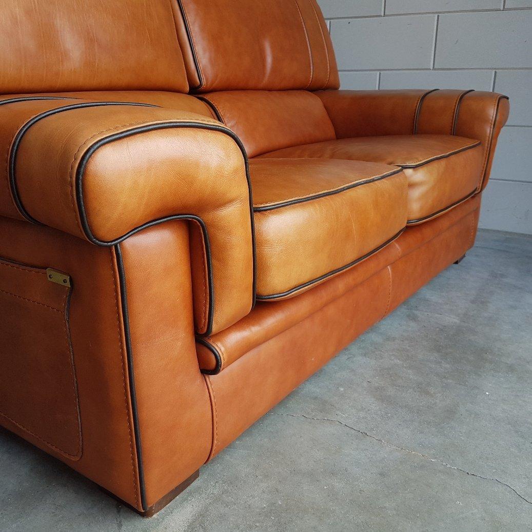 Sofa Cognac vintage cognac saddle leather sofa 1980s for sale at pamono