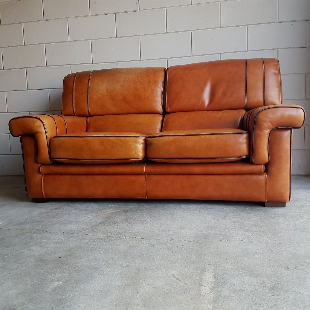 Vintage Cognac Saddle Leather Sofa 1980s For Sale At Pamono