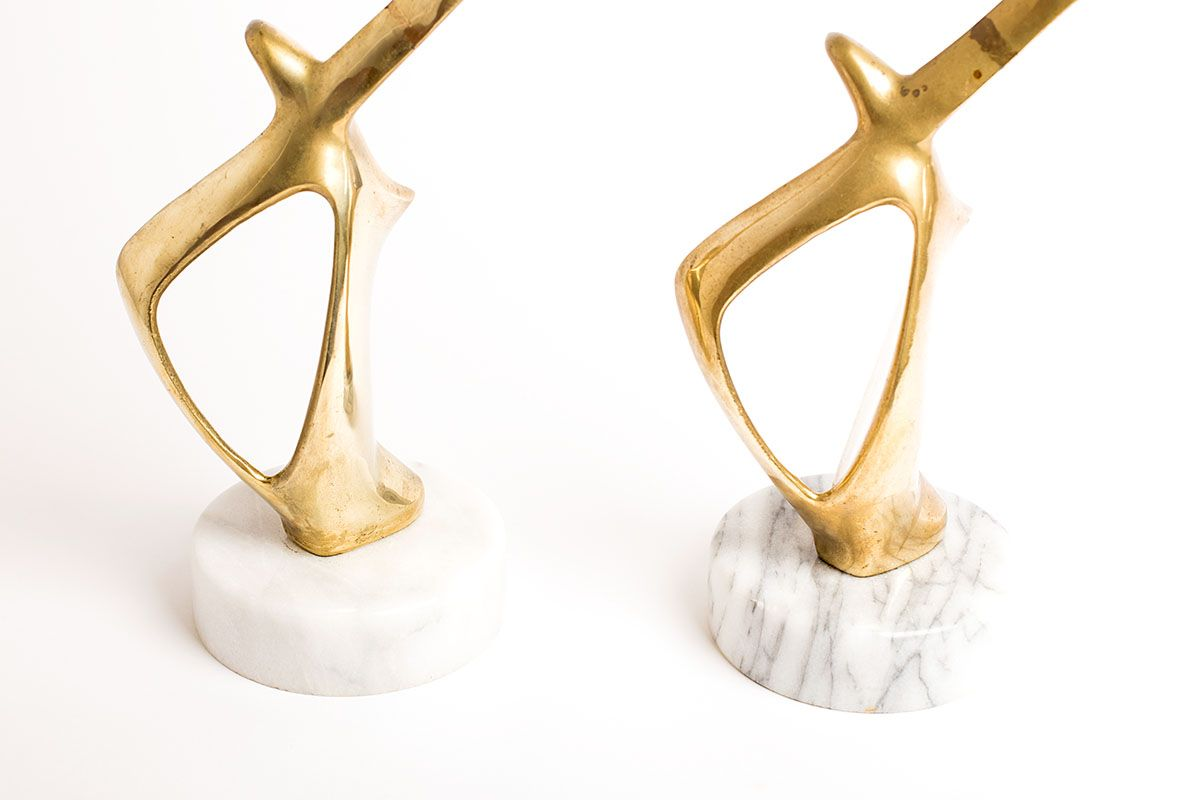 Bird Sculptures Vintage Brass And Marble Bookends With Zoomorphic Bird Sculptures