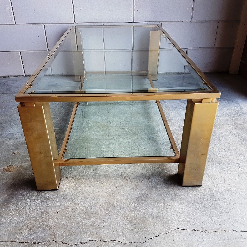 Gold Plated Coffee Table: Gold Plated Rectangular Coffee Table, 1980s For Sale At Pamono