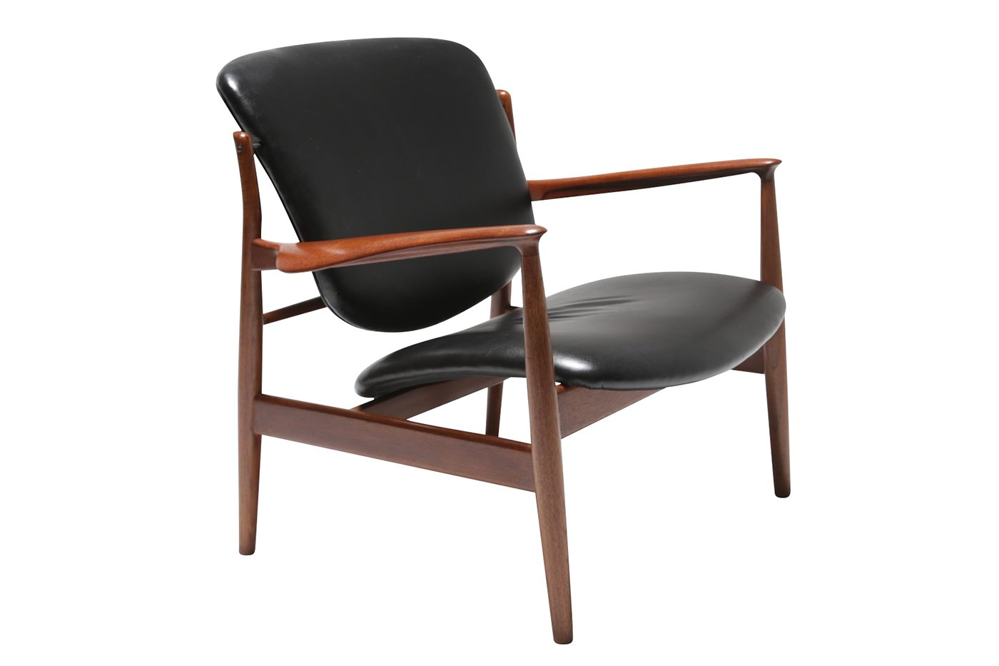 fd 136 teak leather armchair by finn juhl for france daverkosen 1950s for sale at pamono. Black Bedroom Furniture Sets. Home Design Ideas