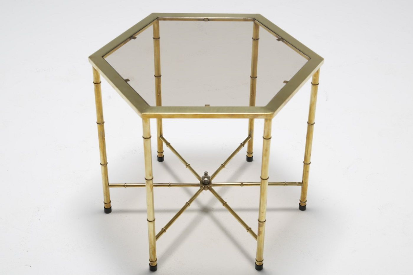 Vintage Brass Side Table With Smoked Glass Top From Mastercraft