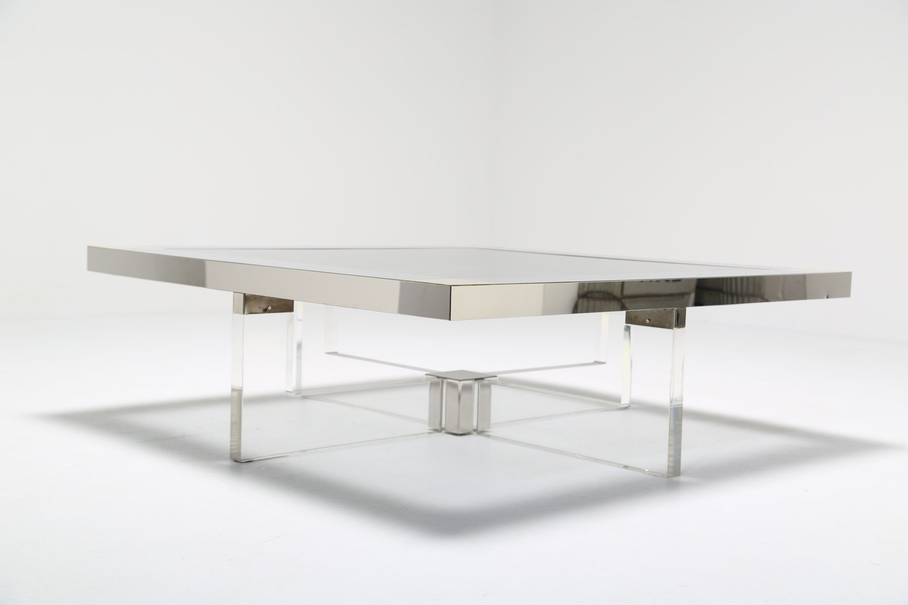 Italian lucite chrome and brass coffee table 1970s for for Lucite and brass coffee table