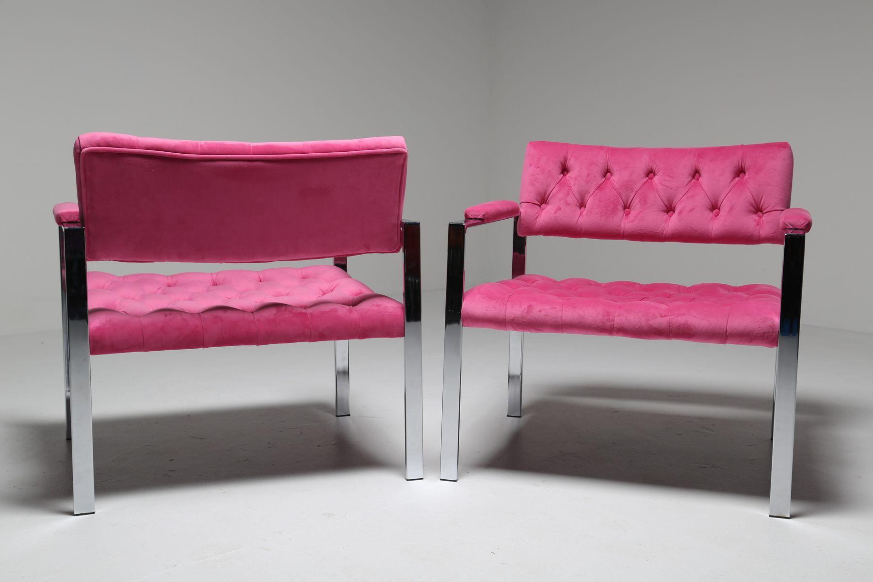 Mid Century Pink Velvet & Chrome Lounge Chairs from Erwin Lambeth