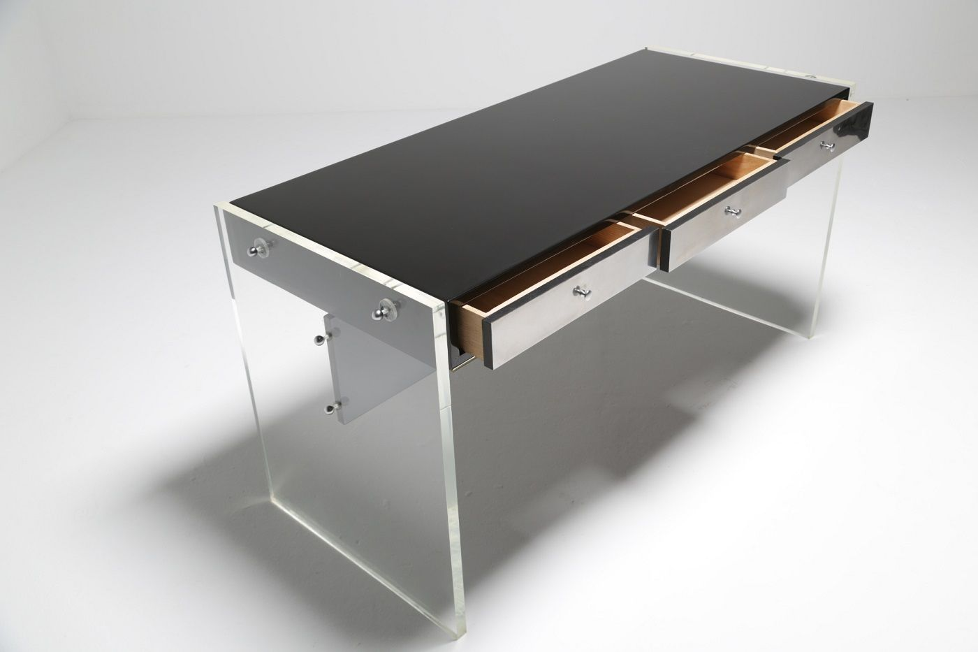 vintage perspex desk with stool for sale at pamono