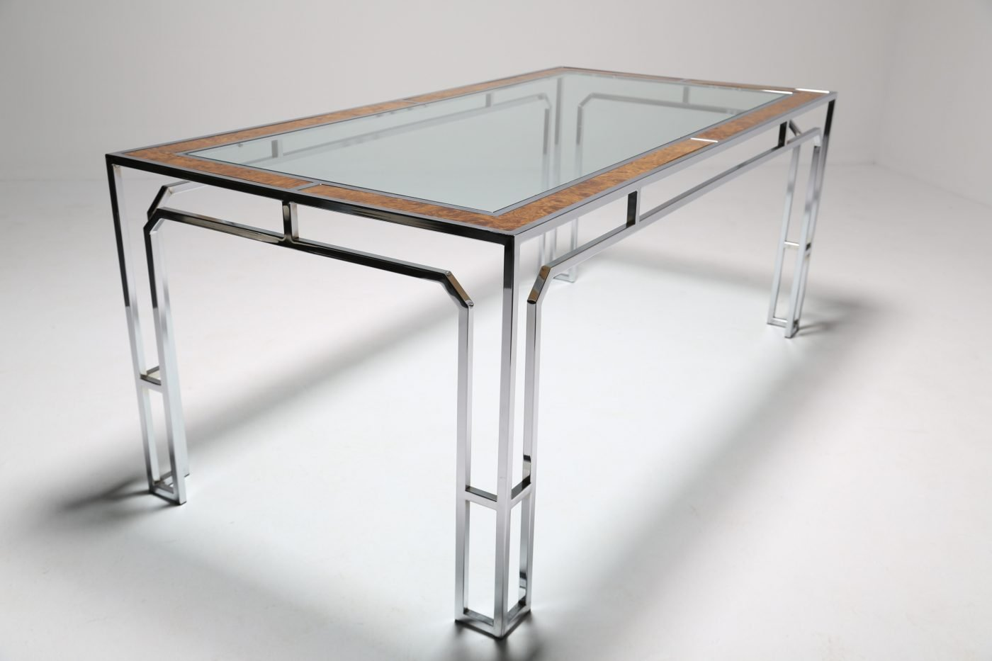 Glass chrome dining table 1970s for sale at pamono for Glass and chrome dining table
