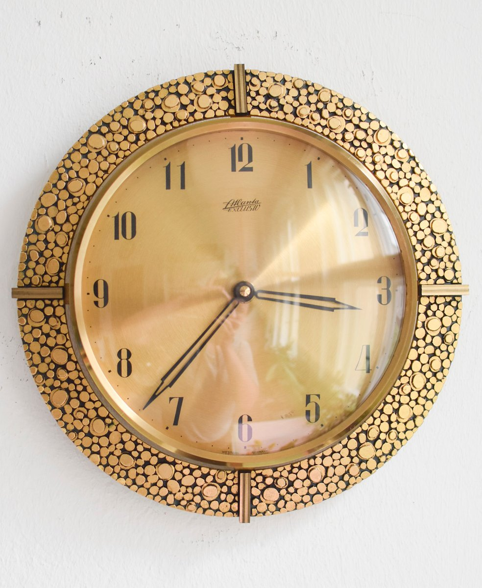 24 karat gold plated brass wall clock from atlanta 1960s. Black Bedroom Furniture Sets. Home Design Ideas