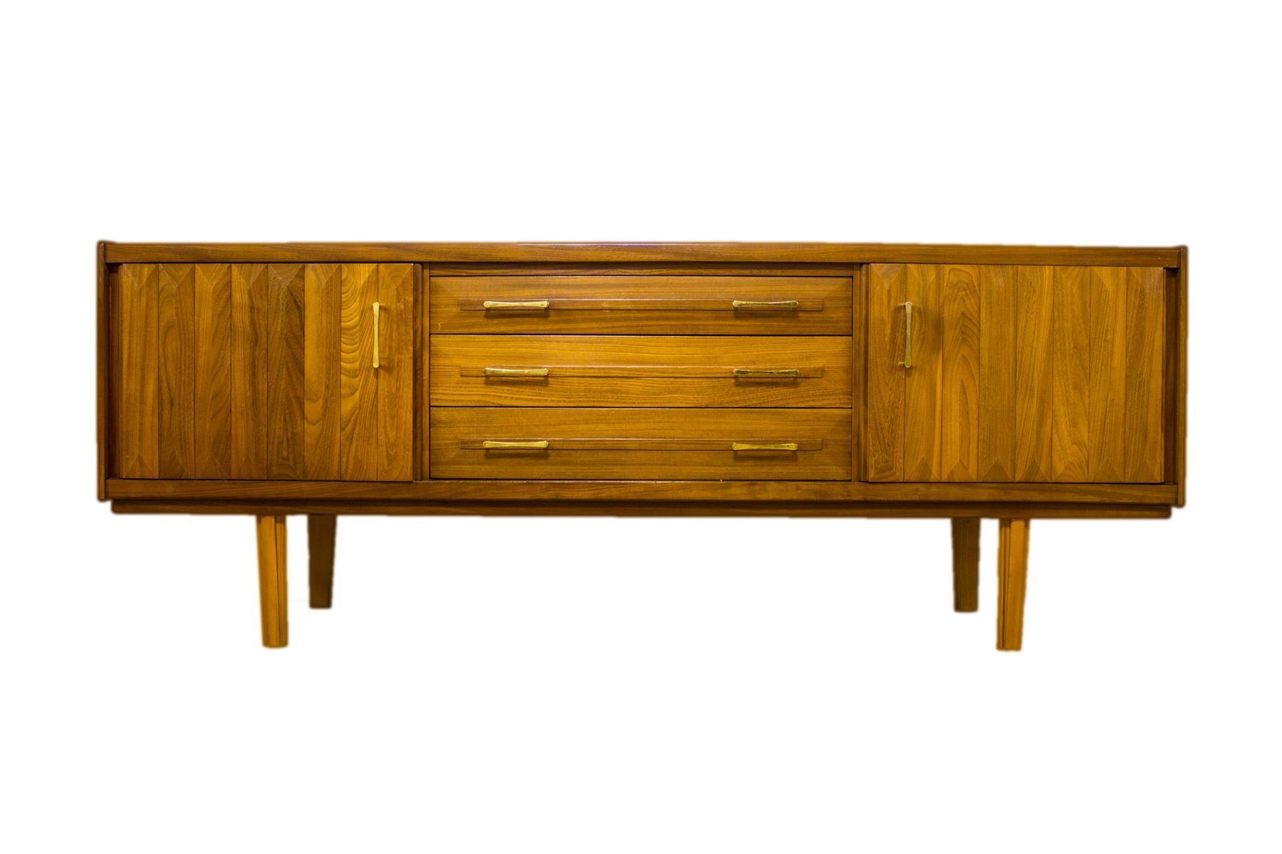 Danish mid century teak diamond cut relief sideboard for for Sideboard x7