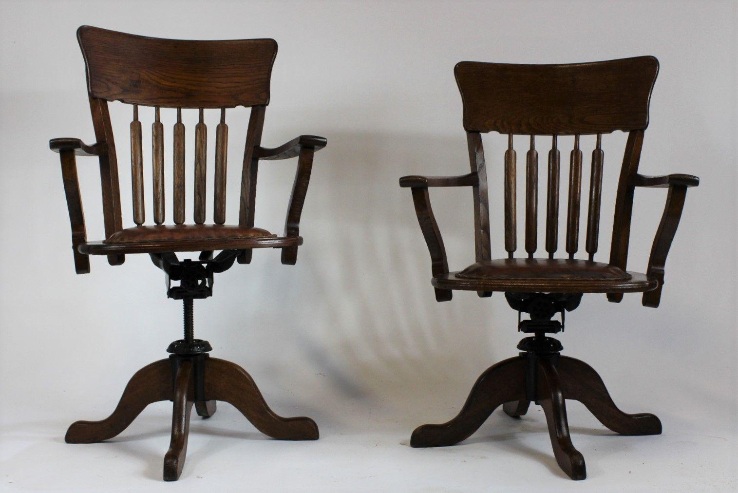 American Oak Swivel Desk Chairs, 1930s, Set Of 2