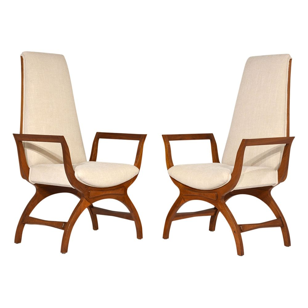 High back lounge chairs - Mid Century High Back Lounge Chairs Set Of 2