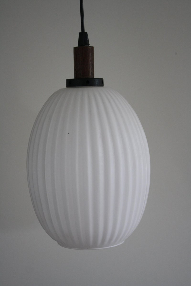 Scandinavian Teak U0026 Milk Glass Pendant Light, 1960s
