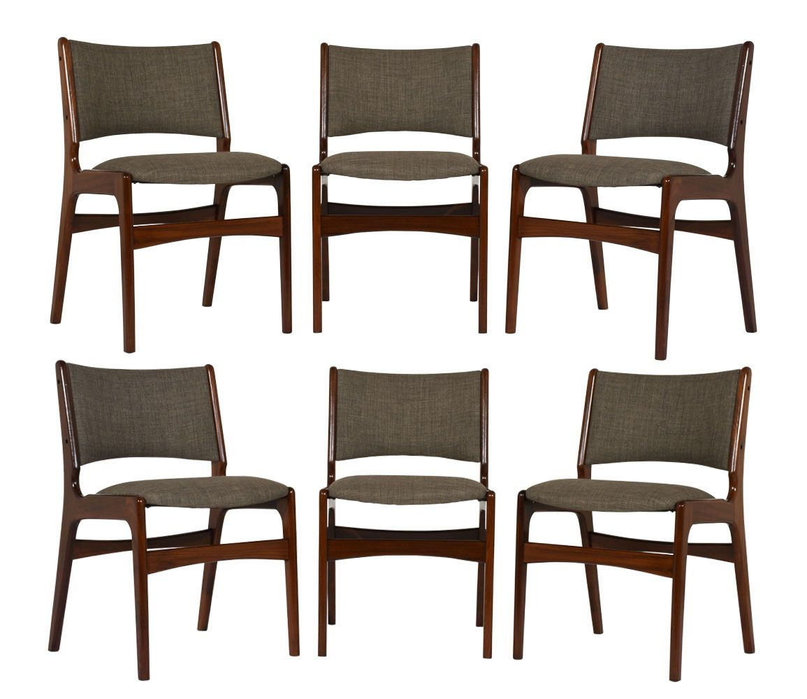 Mid century modern teak dining chairs set of 6 for sale for Modern dining chairs australia