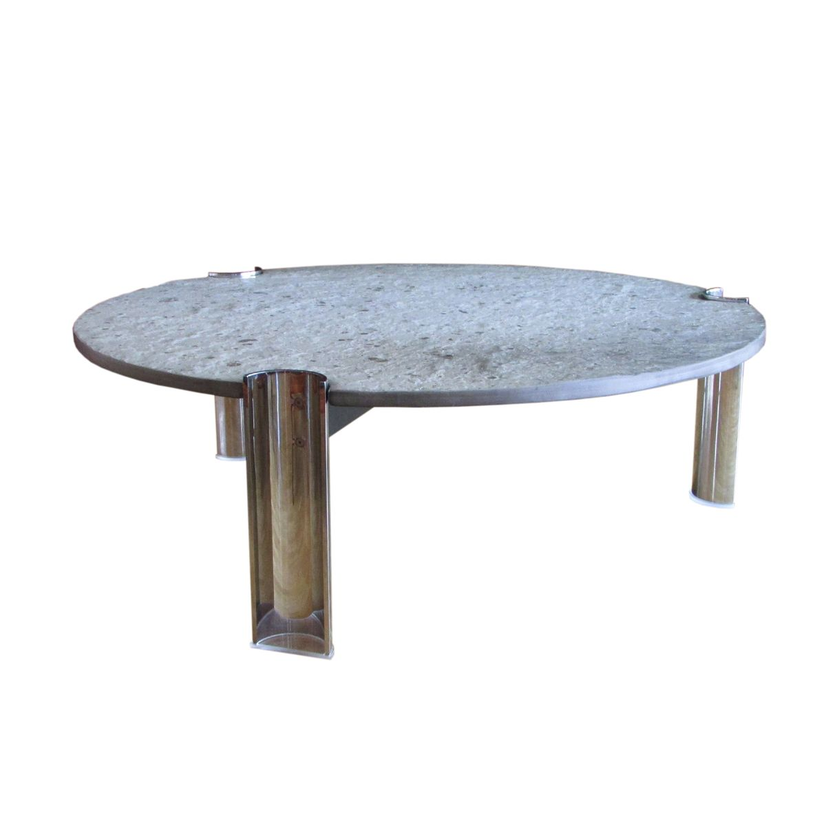 Vintage Round Slate And Chrome Coffee Table