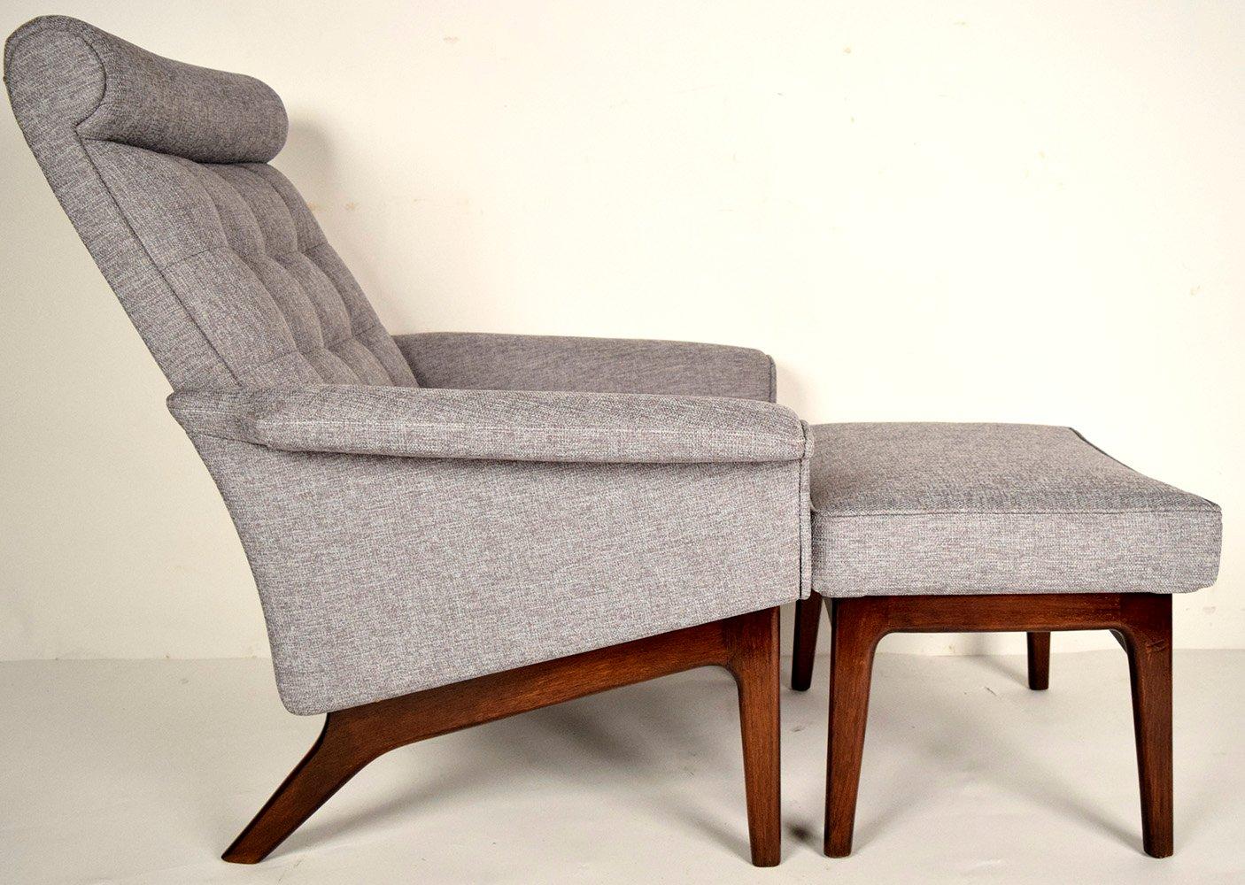 midcentury danish lounge chair  ottoman by poul jensen. midcentury danish lounge chair  ottoman by poul jensen for sale