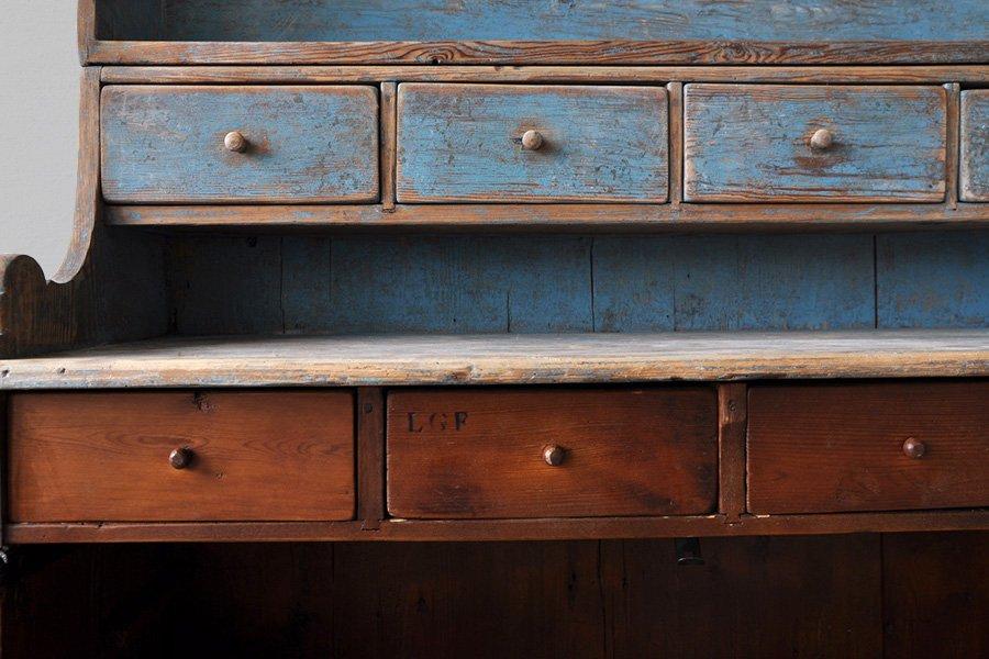 Vintage Swedish Blue Kitchen Cabinet for sale at Pamono